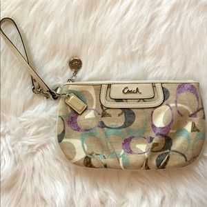 Coach Wristlet Cream and Purple NWOT